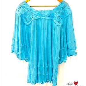 Turquoise Mexico Blouse Angel Sleeves